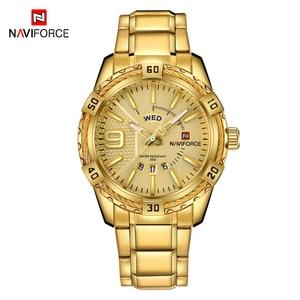 Image 2 - NAVIFORCE Fashion Golden Watch Men Luxury Brand Army Military Quartz Clock Mens Watches Waterproof Week Date Sport Wrist Watches