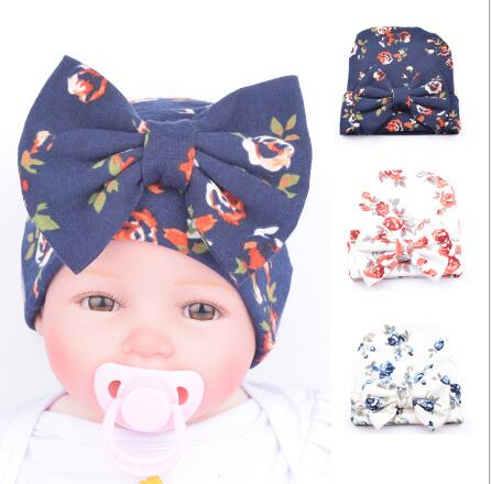 2017 New Hospital Newborn Hat Baby Girl Beanie With Big Bowknot Newborn Knit Infant Flower Caps Baby Toddler Hat Accessories
