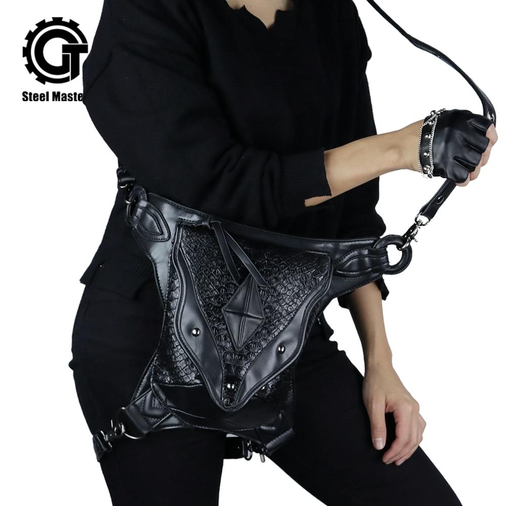 2019 Fashion Punk Women Waist Bag Men Messenger Leg Bags Black Vintage Bum Bag High Hip Holster Wallet Purse Pouch