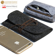 2016 Original For apple iphone 6s plus pouch Wool Felt protective sleeve bag for iPhone6 Plus 5.5″ iphone 6s 4.7 inch cases gray