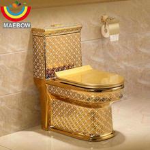 Artistic Golden Diamonds Style One Piece Closestool Siphon Jet Fluishing S-Trap Floor Mounted Luxious Villa Bathroom Seat Toilet