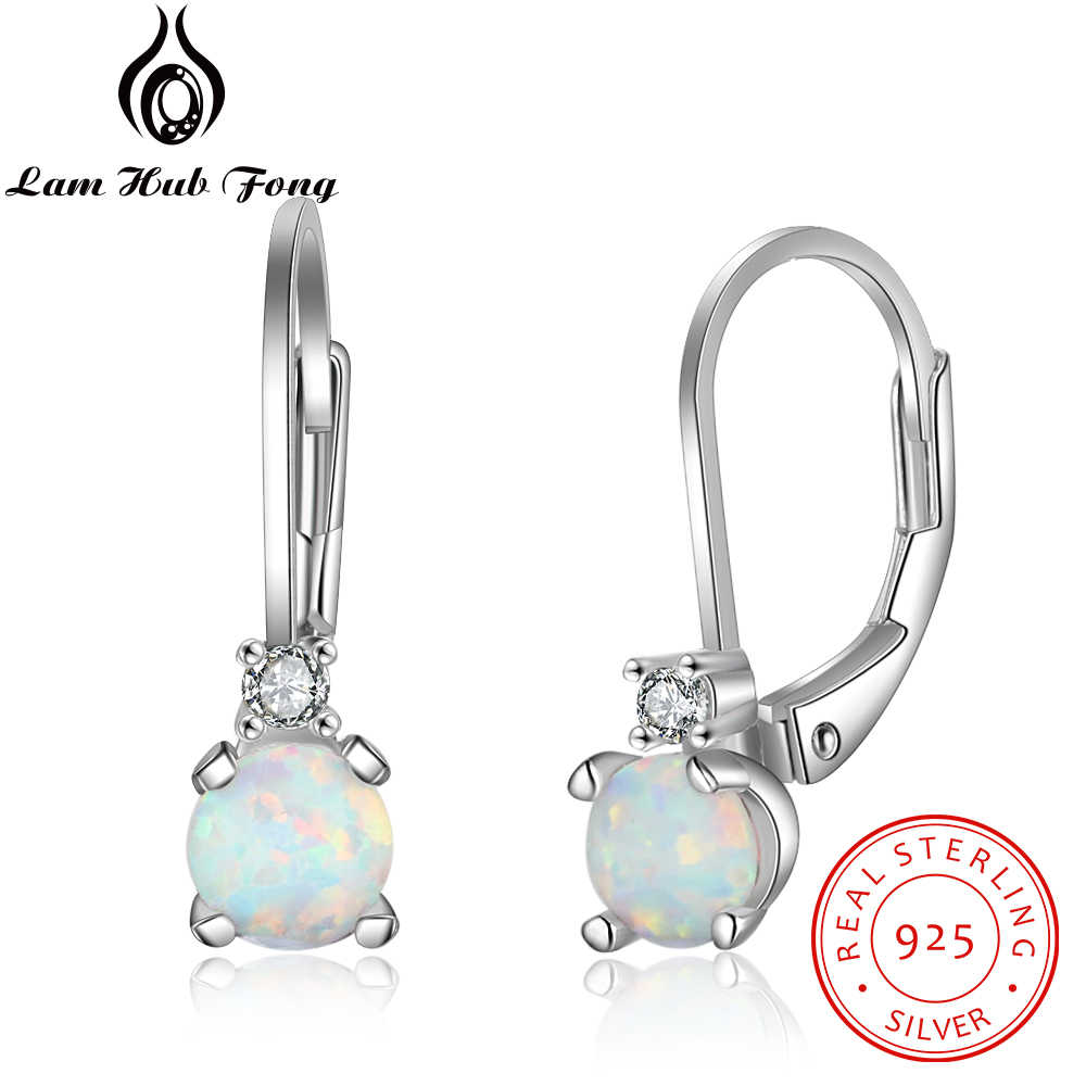 Classic Round White Opal Earrings for Women 925 Sterling Silver Hoop Earrings with Cubic Zirconia Birthday Gift (Lam Hub Fong)