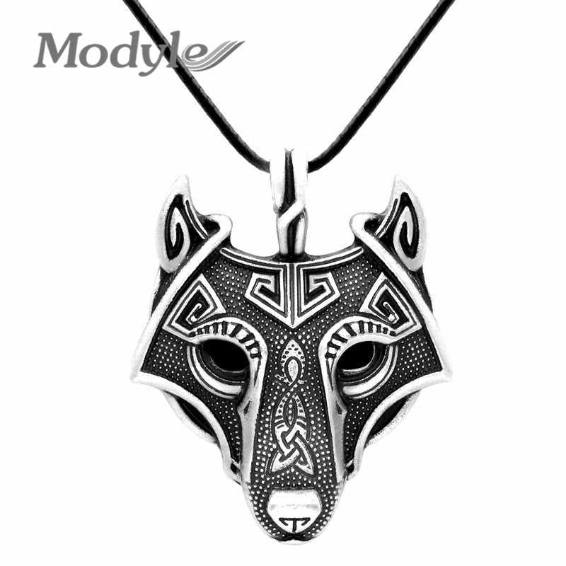 Modyle Norse Vikings Pendant Necklace Norse Wolf Head Necklace Original Animal Jewelry Wolf Head