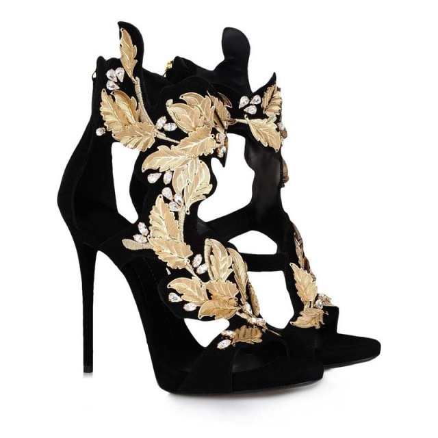 74c8241763a 2014 Designer Fashion Women s Suede Sandal Wedge Gladiator Heel Sandals Gold  Leaf High Heels Platform Pumps