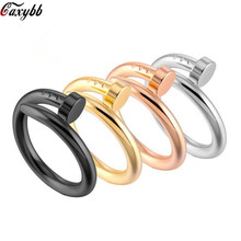 Fashion Punk Rock Screw Nail Ring Stainless Steel Plating 4 colors Hiphop Trendy Unique Style Ring For Women/Men punk style hollow out stainless steel crucifix ring for men
