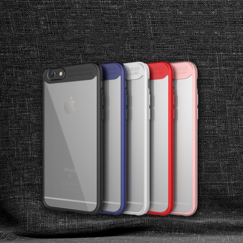 Luxury Transparet Shockproof Case For iPhone 6 6S 7 Plus Case Auto Focus Letter PC & TPU Ultra Thin Phone Back Cover cases