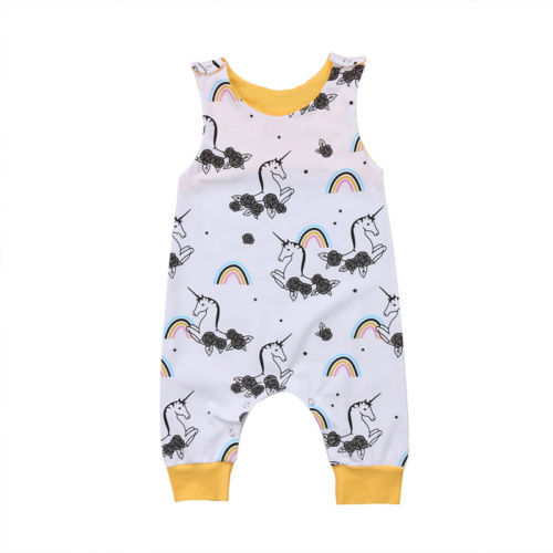 Newborn Infant Baby Toddler Sleeveless Yellow Match Cartoon Rainbow Horse Romper Unicon Jumpsuit Baby Lucky KIDS Clothes