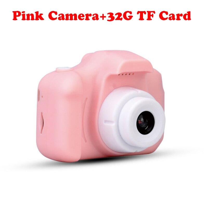 13.0MP перезаряжаемая детская мини-цифровая камера 2,0 дюймов HD экран видеомагнитофон видеокамера язык переключение тайм съемки - Цвет: Pink Camera-32G TF