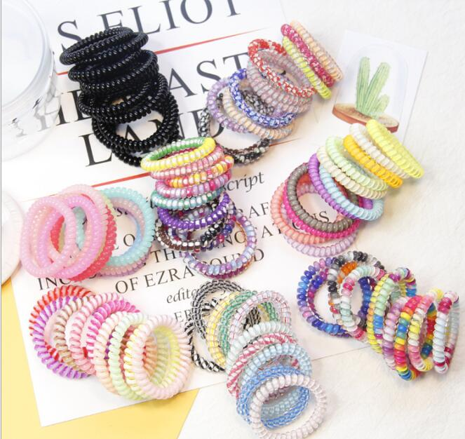 New Arrival(10pcs/lot )Korean Style Fashion Girl Candy Color Hair Rubber Rope Telephone Hair Ring Line Elastic Hairband