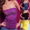 Sexy mulheres meninas Floral Lace Strapless colete Beadeau Top túnica blusa