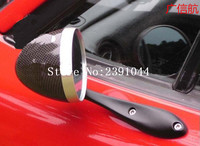 retro silver shell Racing Drifting Rally Mirror Cover With Blue Glass Rear view mirror fit for Foreste two pcs