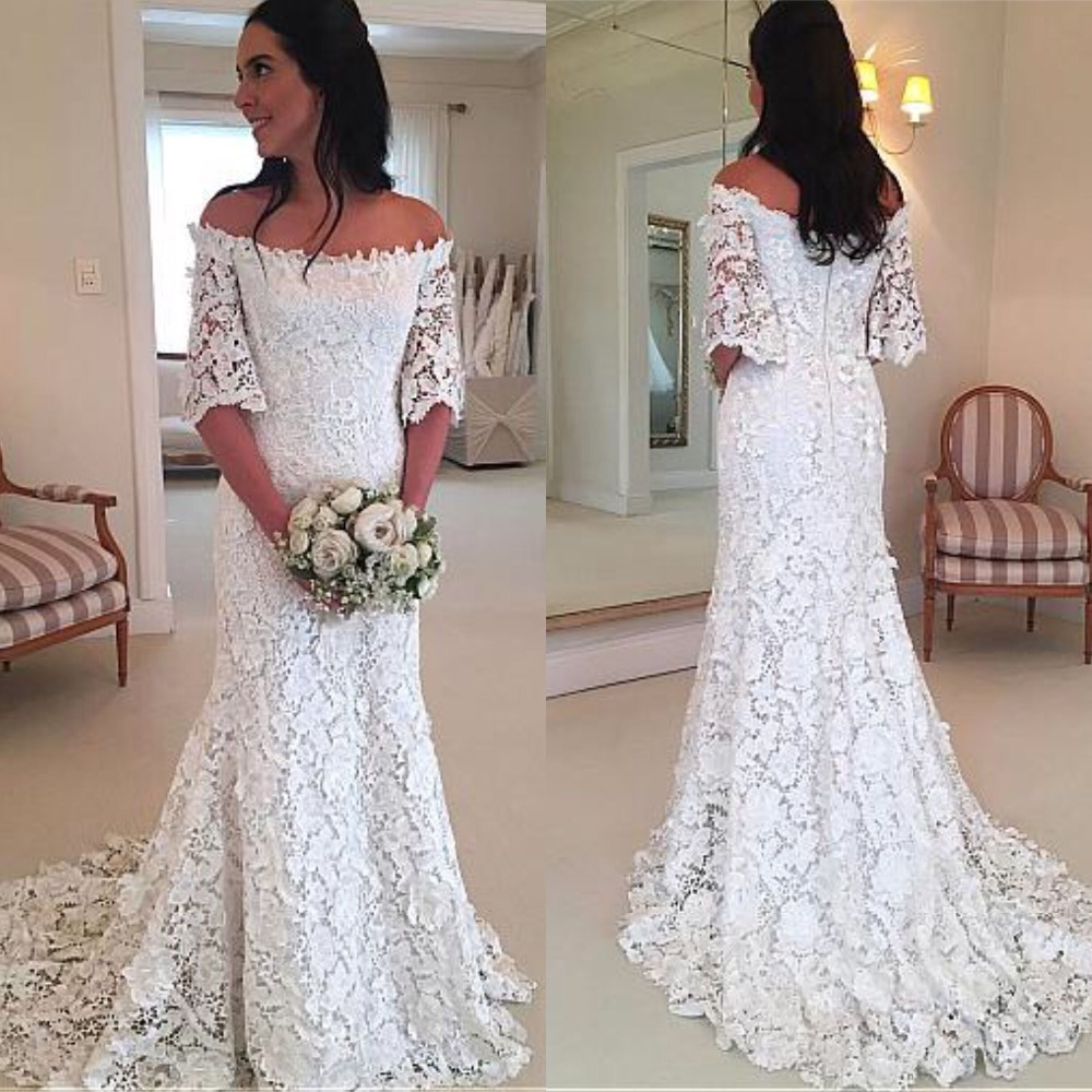 Stunning Lace Off The Shoulder Wedding Dress Sheath With Half Sleeve  Sweep Train Bridal Gowns Casamento Vintage Dress