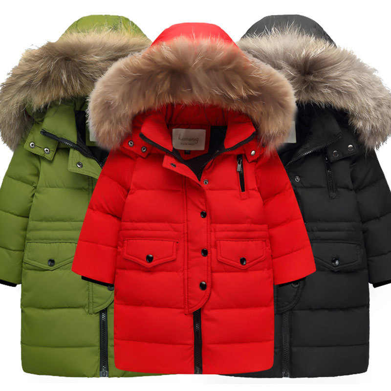 Children Clothing 2019 Winter Jacket for Girls Warm Down Jacket Fur Collar Hooded Outerwear Coat Kids Parka 4 6 8 10 12 13 Years