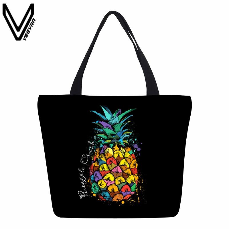 VEEVANV Frauen Handtasche Niedliche Ananas Gedruckt Umhängetasche Mädchen Lässig Schule Bookbag Mode Leinwand Einkaufstasche Handtasche Weiblichen