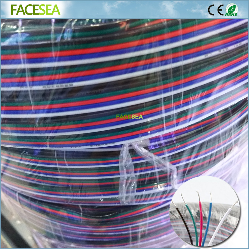 10m/20m/50m 2pin 3pin 4pin 5pin electrical Extension wire,22awg copper insulated wire, Connector Cable For RGB LED Strip Tape
