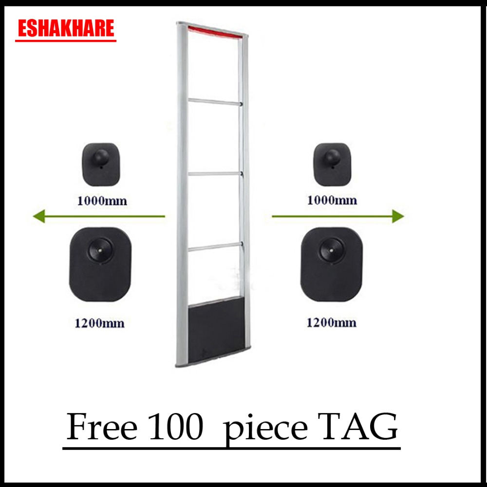 1set mno RF8.2Mhz eas system clothing theft alarm system and 100 piecce reusable security tag eas все цены