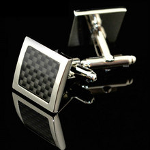 Luxury French Cufflinks High Quality Stainless Steel Silver Vintage Mens Wedding Gift Classical Grid Cuff Links(China)