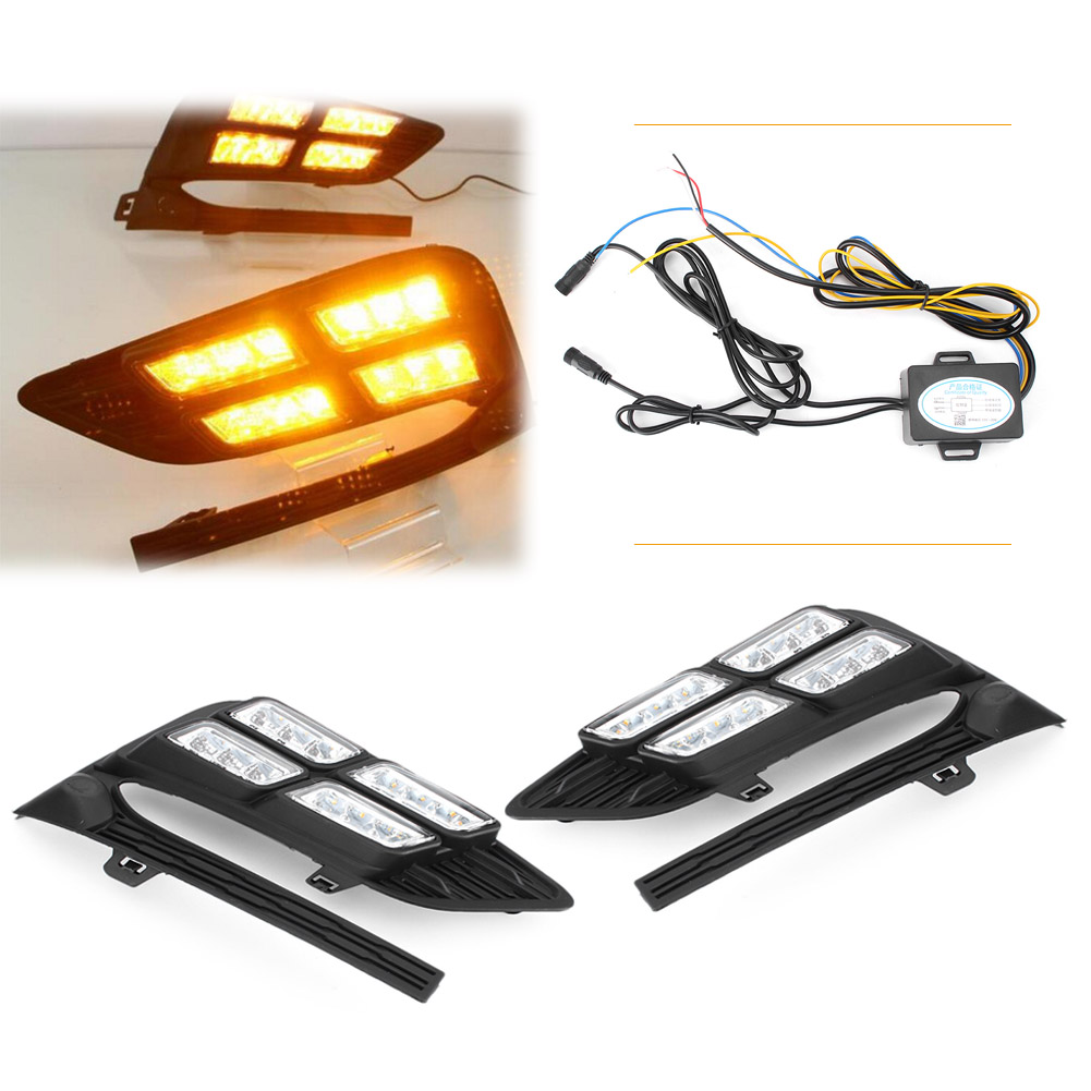 LED DRL Fog Light Daytime Running Lamp Indicators For Chevy Cruze 2017 2018 2nd Gen Pair Car Day Driving Work Lamp Spare Parts