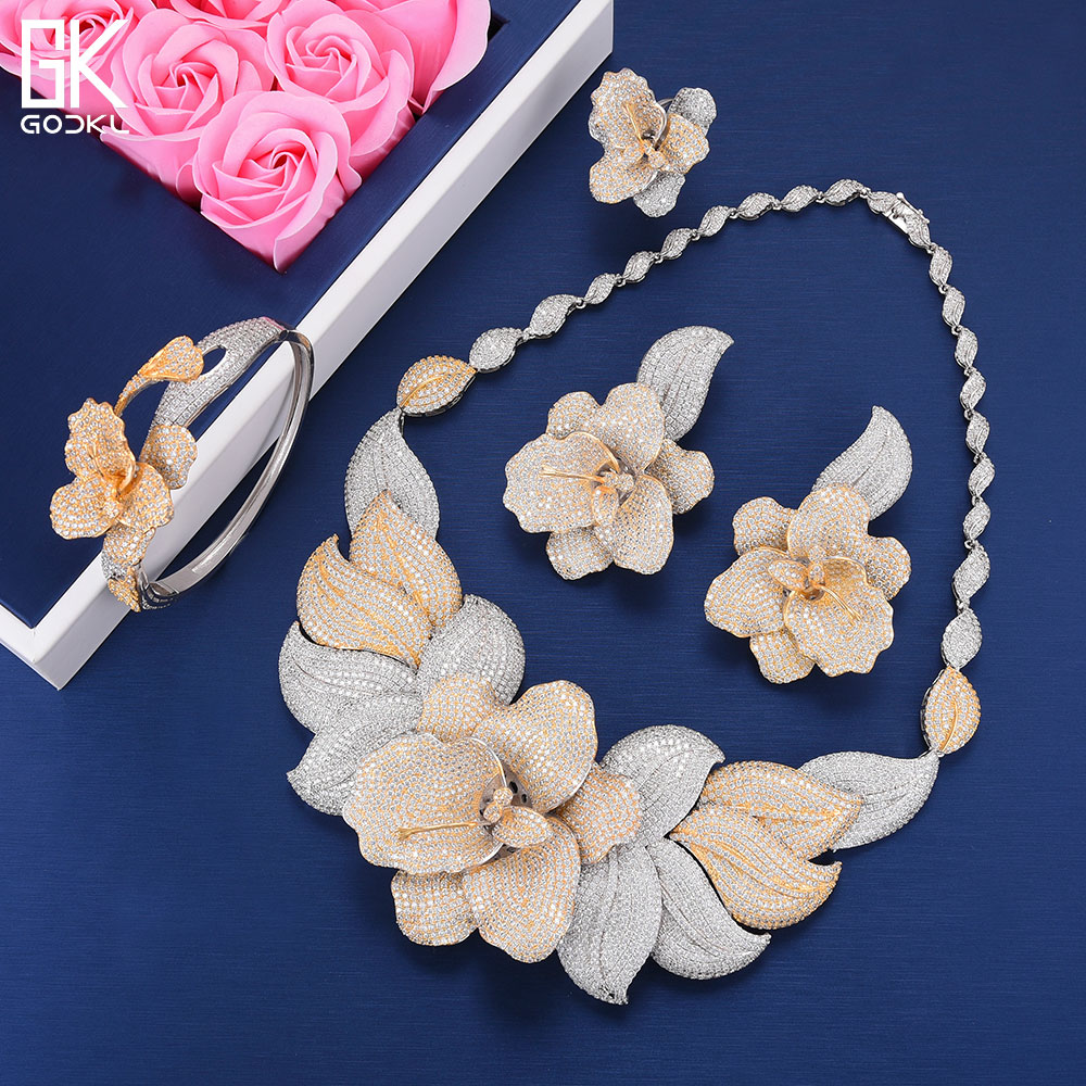 GODKI Luxury Rose Flower Cubic Zircon Earring Necklace Set Indian Birdal Jewelry sets For Women African Beads Jewelry SetsGODKI Luxury Rose Flower Cubic Zircon Earring Necklace Set Indian Birdal Jewelry sets For Women African Beads Jewelry Sets