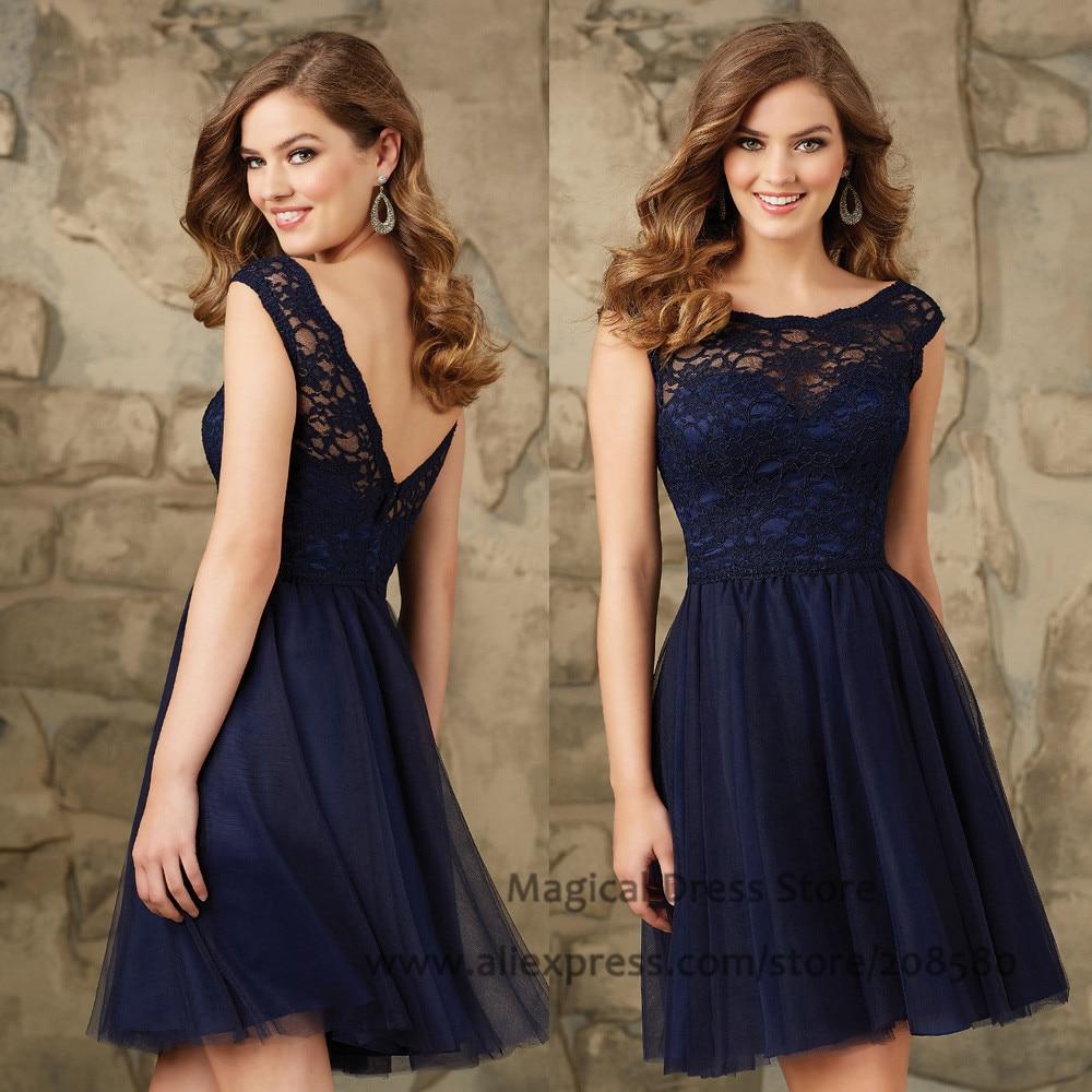 Aliexpress.com : Buy Modest Short Navy Blue Bridesmaid ...