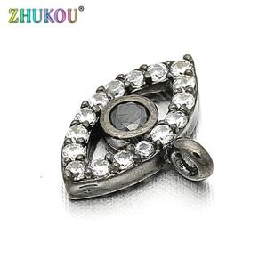 Image 3 - 11*8mm Brass Cubic Zirconia Evil Eyes Charms Pendants DIY Jewelry Bracelet Necklace Making, Model: VD85