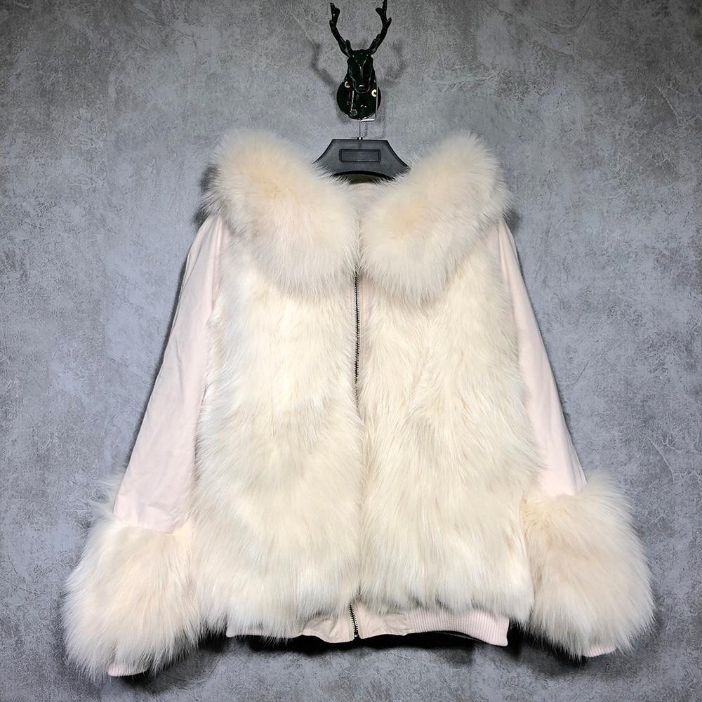 De Fourrure rose Blanc Longues Réel Manches gris camel Avec Capuchon Femmes Occasionnel Yoloagain Renard Dames noir Manteau Y7Zqw5xU