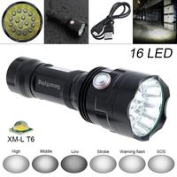Hot SecurityIng Super Bright 16x XM L T6 LED 7200Lumens Waterproof Flashlight Torch with 6 Modes Light Support USB charging