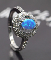 GZJY Unique Fire Opal Jewelry Blue Oval Opal Zircon Ring White Gold Color Wedding Engagement Rings For Women