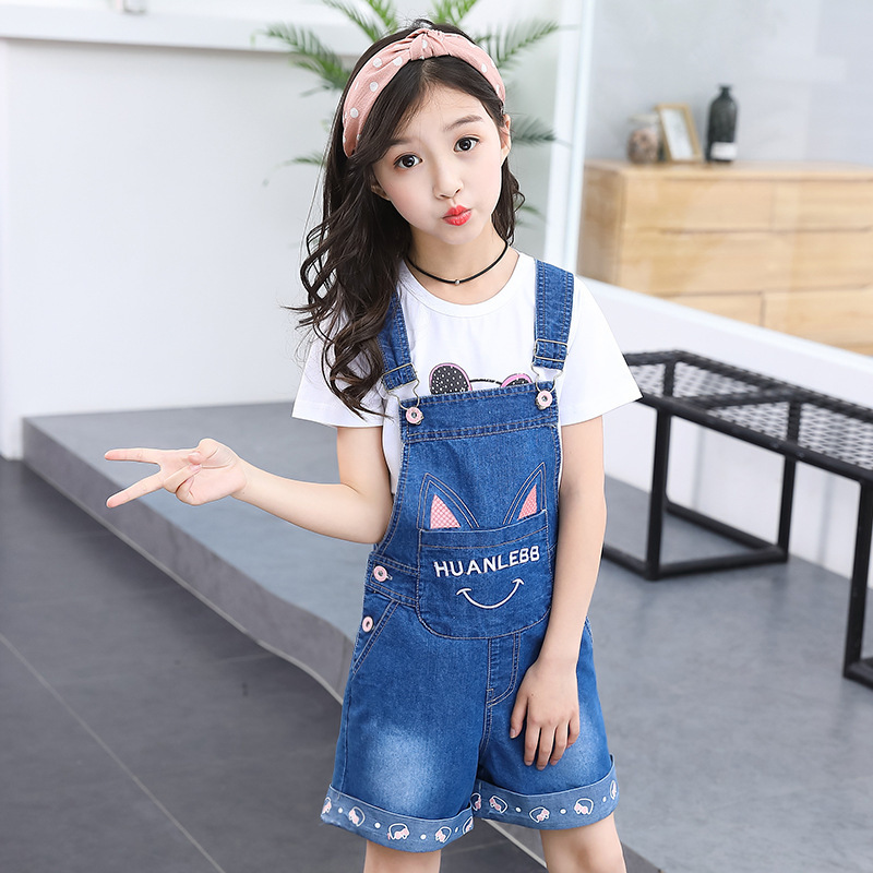 Girl Child Summer New Pattern Korean Cartoon Cat Ears Cowboy Salopettes Suit 2 Pieces Sets