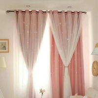 Double layer Light Transmission Shiny Stars Hollow Children Cloth Curtains For Kids Boy Girl Bedroom Living Room Decor Curtains