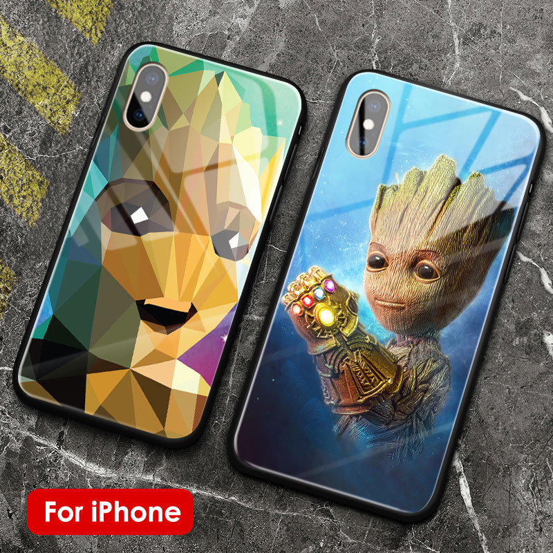 Groot <font><b>marvel</b></font> poster cute tempered glass soft silicone <font><b>phone</b></font> <font><b>case</b></font> shell for Apple iPhone 5 5s Se 6 6s 7 8 Plus X XR XS 11 PRO MAX image