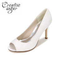 Elegant Lace Open Peep Toe Pumps White Ivory Blue Pink Black Lady S High Heels For