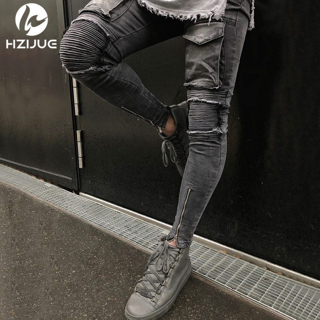 HZIJUE 2018 היי-רחוב גברים הברך Eversion Ripped גדול חור גברים ג 'ינס Streetwear סקייטבורד ישר מכנסיים גבר מזדמן אלסטי ג 'ינס
