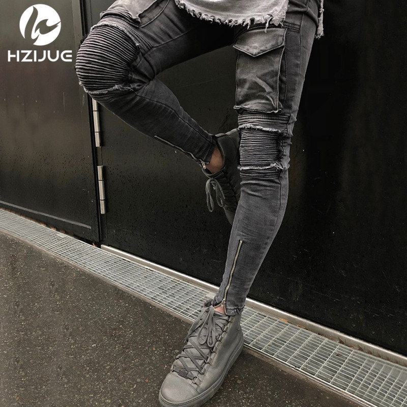 HZIJUE 2018 Hi Street Men Knee Eversion Ripped Big Hole Men Jeans Streetwear Skateboard Straight Pants Man Casual Elastic Jeans