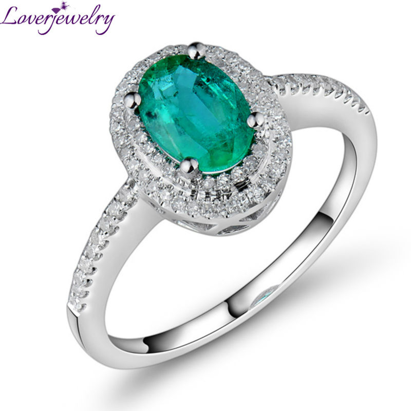 New Engagement Oval 5x7mm Solid 18kt White Gold Diamond Emerald Ring Genuine Gemstone Fine Jewelry for Wife Christmas Gift R0014 цена