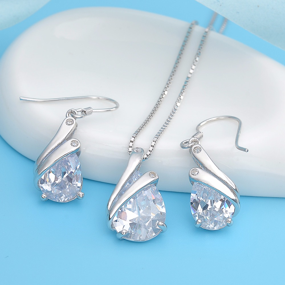Bella Fashion 925 Sterling Silver Teardrop Bridal Necklace Earring Set Cubic Zircon Wedding Jewelry Set Women Party Daily Gift bella fashion 925 sterling silver lucky horseshoe bridal necklace cubic zircon pendant chain necklace for wedding party jewelry