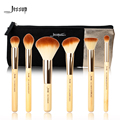 Jessup Brand 6pcs Beauty Bamboo Professional Makeup Brushes Set T144  & Cosmetics Bags Women Bag CB001