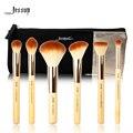 Jessup marca 6 pcs beleza de bambu pincéis de maquiagem profissional definida t144 & sacos cosméticos mulheres saco cb001