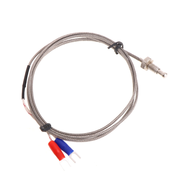 M6 Screw Probe K Type Thermocouple 1m Industrial Temperature Sensor Cable Wire k type thermocouple probe temperature sensor silver 2 meters