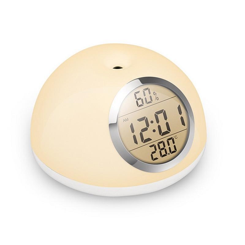 LED lever du soleil réveil lampe humidité température vérifier 10 niveaux luminosité réglable capteur de geste contrôle tactile LED veilleuse