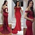 Moda elegante Borgoña Vestidos de Noche Apliques de Encaje Largo Tren de Barrido Sirena fiesta Por La Noche Vestidos de cuello V