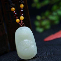 Fine HeTian Natural Stone Pendant Laughing Buddha Pendant Sweater Chain Necklace Lucky for Men Women Blessing Transport Jewelry