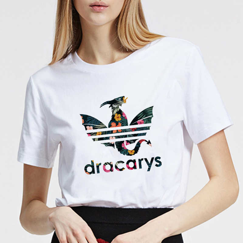 Showtly Dracarys Zomer Top Tees Game Of Thrones Print Casual Mode T-shirt Vrouwen Plus Size Casual T-shirt Korte Mouw