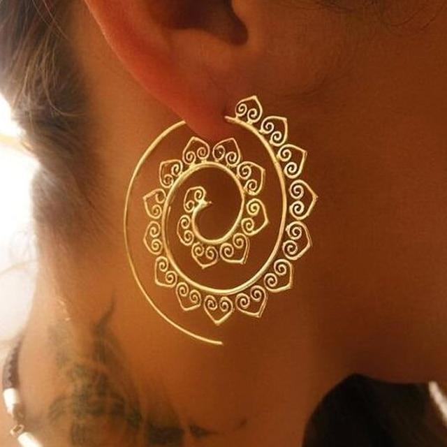 Naomy&ZP Bohemian Round Spiral Drop Earrings Big Ethnic Gold Silver Color Punk Whirlpool Gear Earrings for Women Fashion Jewelry