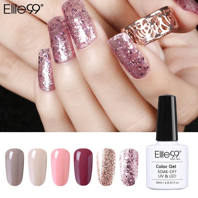 Elite99 Gel Polish Set Semi Permanent Vernis top mantel UV LED Gel Lack Nude gold shinning bling Nail art Gel nagellack