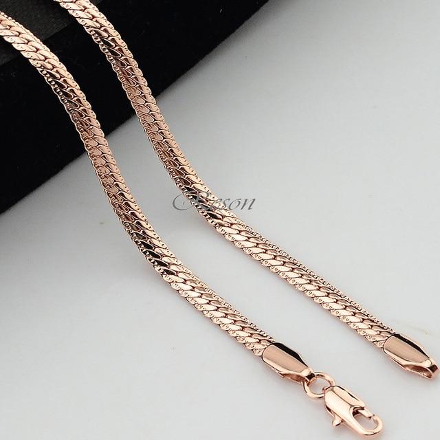 1 sztuk 45 cm-70 cm długie 3mm 4mm mężczyzna kobiet para różowe złoto wypełnione węża naszyjnik łańcuch w jodełkę E153
