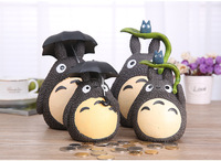 21 cm Totoro şemsiye ile şekil oyuncak Miyazaki Komşum Totoro Şemsiye ile Yaprak Bebek Reçine Oyuncaklar çocuklar için Para Bankası hediyeler