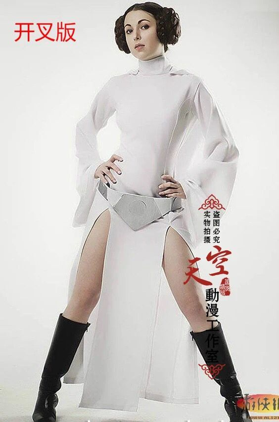 New Star Wars Costume Princess Leia Cosplay Costume Made girls clothes female Summer fall Dress with belt women Uniform