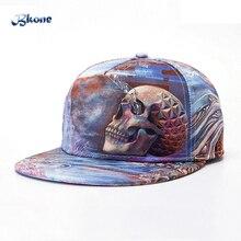 BKONE 3D Baseball Cap Adjustable Hip Hop Hat Skull Head Ice Snapback Flat Brimmed Street Casquette Unisex Sun Hat