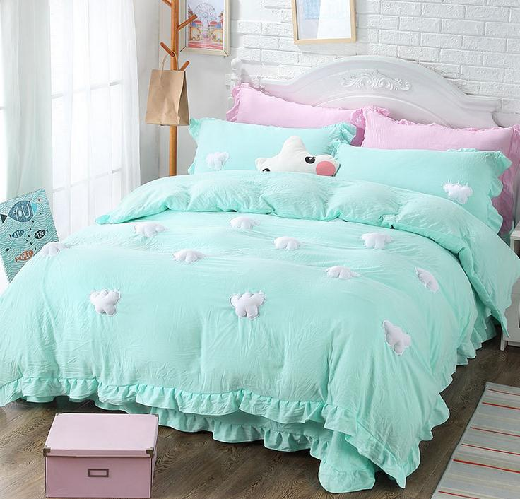youth clouds pattern single double bed 34pcs bedding sets twin full queen king